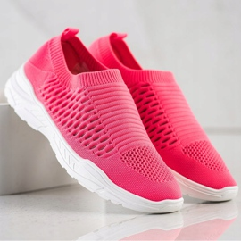 Ideal Shoes Wygodne Ażurowe Sneakersy różowe 1