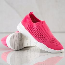 Ideal Shoes Wygodne Ażurowe Sneakersy różowe 4