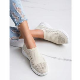 Ideal Shoes Wygodne Ażurowe Sneakersy beżowy 2