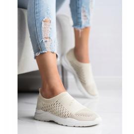 Ideal Shoes Wygodne Ażurowe Sneakersy beżowy 1