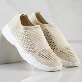 Ideal Shoes Wygodne Ażurowe Sneakersy beżowy 3