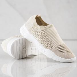 Ideal Shoes Wygodne Ażurowe Sneakersy beżowy 4