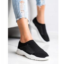 Ideal Shoes Wygodne Ażurowe Sneakersy czarne 3