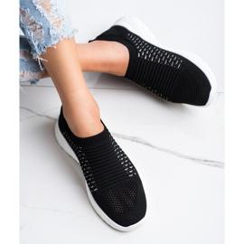 Ideal Shoes Wygodne Ażurowe Sneakersy czarne 2
