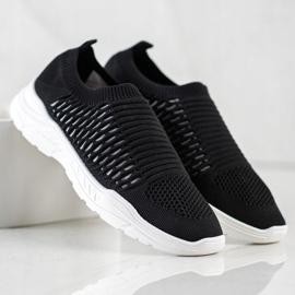 Ideal Shoes Wygodne Ażurowe Sneakersy czarne 1