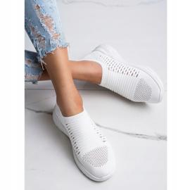 Ideal Shoes Wygodne Ażurowe Sneakersy białe 2