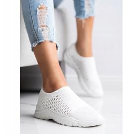 Ideal Shoes Wygodne Ażurowe Sneakersy białe 1