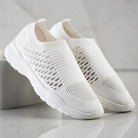 Ideal Shoes Wygodne Ażurowe Sneakersy białe 3