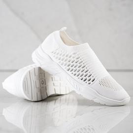 Ideal Shoes Wygodne Ażurowe Sneakersy białe 4