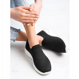 Ideal Shoes Czarne Sportowe Slipony 4