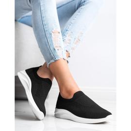 Ideal Shoes Czarne Sportowe Slipony 3