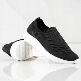 Ideal Shoes Czarne Sportowe Slipony 1