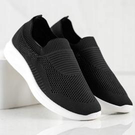 Ideal Shoes Czarne Sportowe Slipony 2