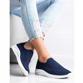 Ideal Shoes Granatowe Sportowe Slipony niebieskie 3