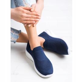 Ideal Shoes Granatowe Sportowe Slipony niebieskie 4