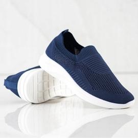 Ideal Shoes Granatowe Sportowe Slipony niebieskie 1