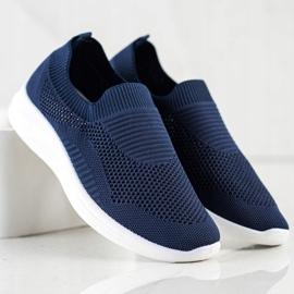 Ideal Shoes Granatowe Sportowe Slipony niebieskie 2