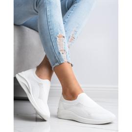 Ideal Shoes Białe Sportowe Slipony 3