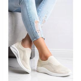 Ideal Shoes Beżowe Sportowe Slipony brązowe 2
