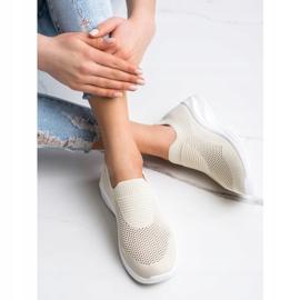 Ideal Shoes Beżowe Sportowe Slipony brązowe 3
