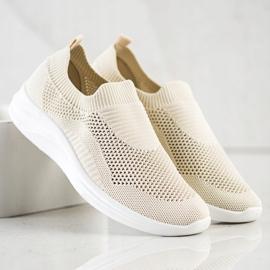 Ideal Shoes Beżowe Sportowe Slipony brązowe 1