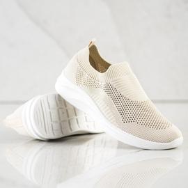 Ideal Shoes Beżowe Sportowe Slipony brązowe 4