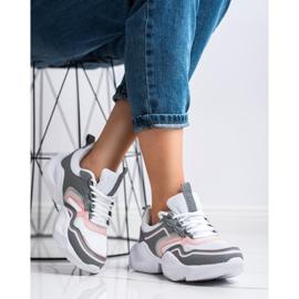 SHELOVET Lekkie Sportowe Sneakersy białe różowe szare 2