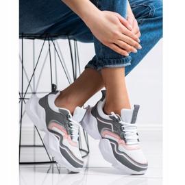 SHELOVET Lekkie Sportowe Sneakersy białe różowe szare 3
