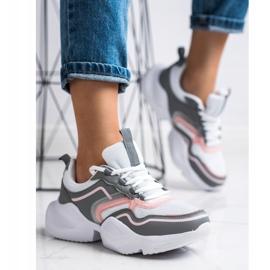 SHELOVET Lekkie Sportowe Sneakersy białe różowe szare 1