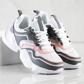 SHELOVET Lekkie Sportowe Sneakersy białe różowe szare 4