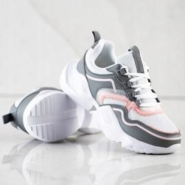 SHELOVET Lekkie Sportowe Sneakersy białe różowe szare 5