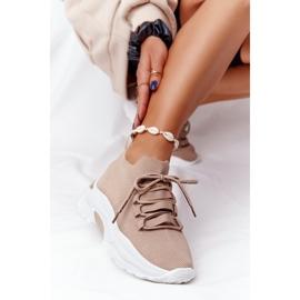Damskie Sportowe Buty Skarpetkowe Beżowe KeSports beżowy 7