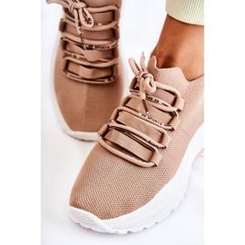 Damskie Sportowe Buty Skarpetkowe Beżowe KeSports beżowy 4