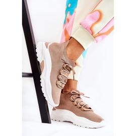 Damskie Sportowe Buty Skarpetkowe Beżowe KeSports beżowy 2