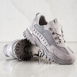 SHELOVET Szare Sneakersy 4