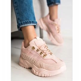 SHELOVET Pudrowe Sneakersy różowe 4