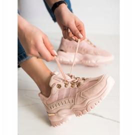 SHELOVET Pudrowe Sneakersy różowe 3