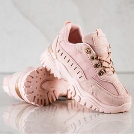 SHELOVET Pudrowe Sneakersy różowe 1