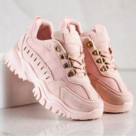 SHELOVET Pudrowe Sneakersy różowe 2