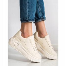 SHELOVET Stylowe Sneakersy Z Eko Skóry beżowy 1