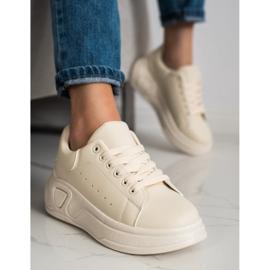 SHELOVET Stylowe Sneakersy Z Eko Skóry beżowy 4