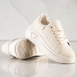 SHELOVET Stylowe Sneakersy Z Eko Skóry beżowy 2