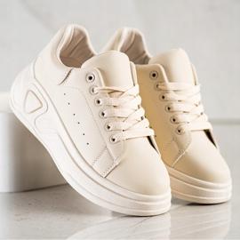 SHELOVET Stylowe Sneakersy Z Eko Skóry beżowy 3