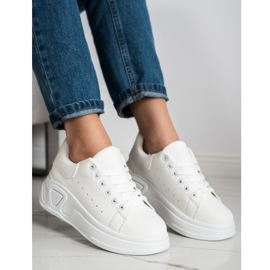 SHELOVET Stylowe Sneakersy Z Eko Skóry białe 1