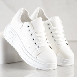 SHELOVET Stylowe Sneakersy Z Eko Skóry białe 2