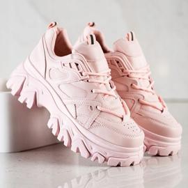 SHELOVET Różowe Sneakersy Fashion 4