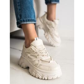 SHELOVET Beżowe Sneakersy Fashion brązowe 4