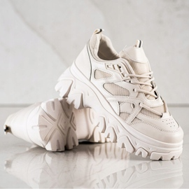 SHELOVET Beżowe Sneakersy Fashion brązowe 1