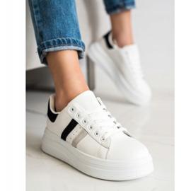 SHELOVET Sneakersy Z Zamszowymi Wstawkami białe 4