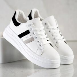 SHELOVET Sneakersy Z Zamszowymi Wstawkami białe 1